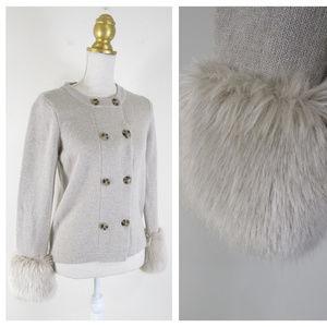 Banana Republic Sweater With Faux Fur Cuffs